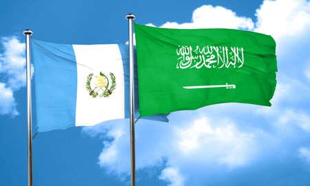 bandera de guatemala: bandera de Guatemala con la bandera de Arabia Saudita, 3D Foto de archivo
