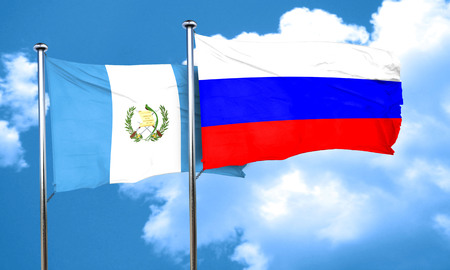 russia flag: guatemala flag with Russia flag, 3D rendering
