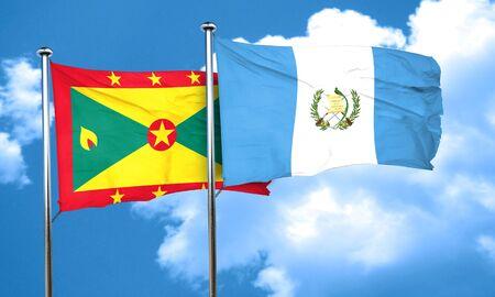 bandera de guatemala: bandera de Granada con la bandera de Guatemala, 3D