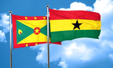 Ghana: Grenada flag with Ghana flag, 3D rendering Stock Photo
