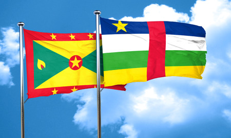 grenada: Grenada flag with Central African Republic flag, 3D rendering