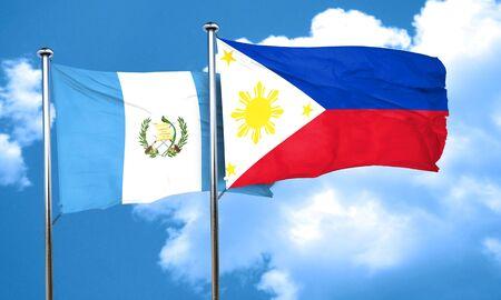 bandera de guatemala: bandera de Guatemala con la bandera de Filipinas, 3D Foto de archivo