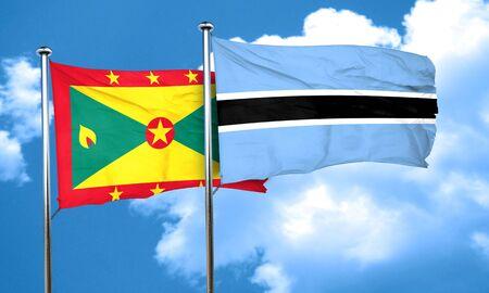 botswana: Grenada flag with Botswana flag, 3D rendering