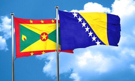 grenada: Grenada flag with Bosnia and Herzegovina flag, 3D rendering Stock Photo