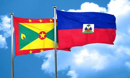 grenada: Grenada flag with Haiti flag, 3D rendering