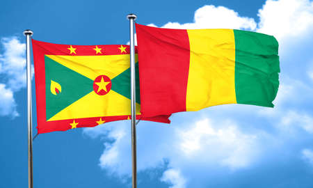 grenada: Grenada flag with Guinea flag, 3D rendering