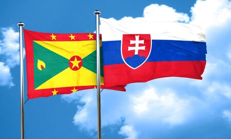 slovakia flag: Grenada flag with Slovakia flag, 3D rendering Stock Photo