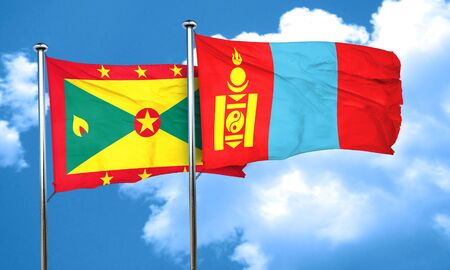 grenada: Grenada flag with Mongolia flag, 3D rendering
