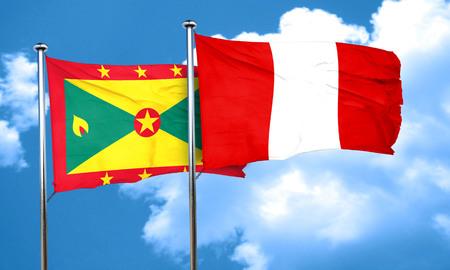 bandera de peru: bandera de Granada con la bandera de Perú, 3D