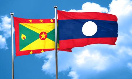 grenada: Grenada flag with Laos flag, 3D rendering