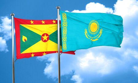 kazakhstan: Grenada flag with Kazakhstan flag, 3D rendering