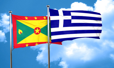 greece flag: Grenada flag with Greece flag, 3D rendering Stock Photo