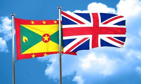 grenada: Grenada flag with Great Britain flag, 3D rendering