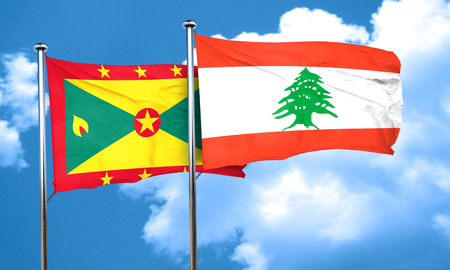 grenada: Grenada flag with Lebanon flag, 3D rendering Stock Photo