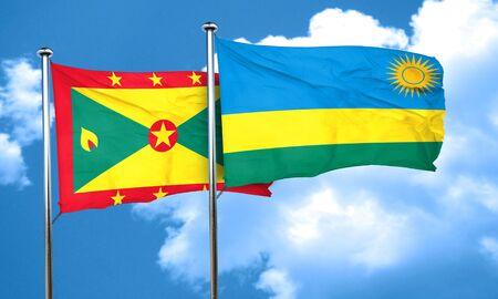 grenada: Grenada flag with rwanda flag, 3D rendering