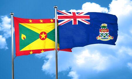 cayman: Grenada flag with Cayman islands flag, 3D rendering