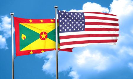 grenada: Grenada flag with American flag, 3D rendering