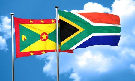 grenada: Grenada flag with South Africa flag, 3D rendering