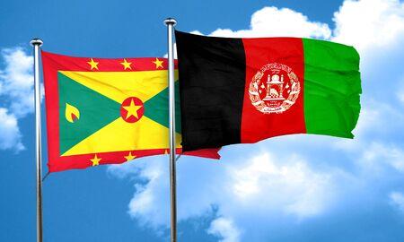 afghanistan flag: Grenada flag with afghanistan flag, 3D rendering Stock Photo