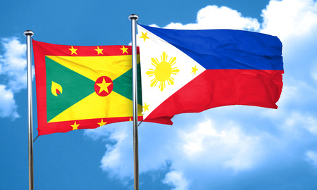 philippino: Grenada flag with Philippines flag, 3D rendering Stock Photo