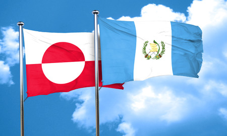 greenland: greenland flag with Guatemala flag, 3D rendering Stock Photo