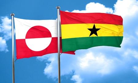 Ghana: greenland flag with Ghana flag, 3D rendering Stock Photo