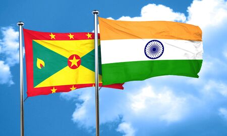 grenada: Grenada flag with India flag, 3D rendering