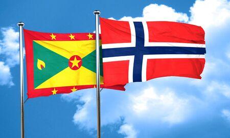 norway flag: Grenada flag with Norway flag, 3D rendering