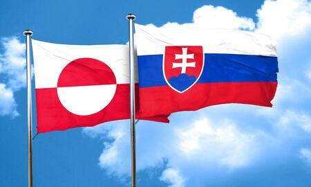slovakia flag: greenland flag with Slovakia flag, 3D rendering