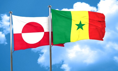 senegal: greenland flag with Senegal flag, 3D rendering
