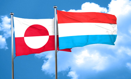 greenland: greenland flag with Luxembourg flag, 3D rendering Stock Photo