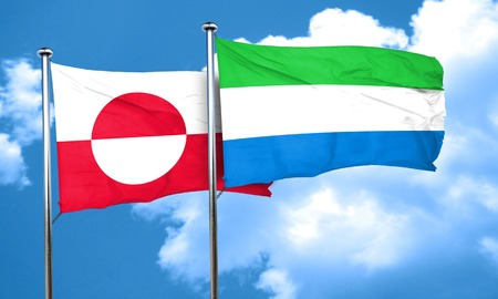 leone: greenland flag with Sierra Leone flag, 3D rendering Stock Photo