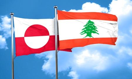 lebanon: greenland flag with Lebanon flag, 3D rendering
