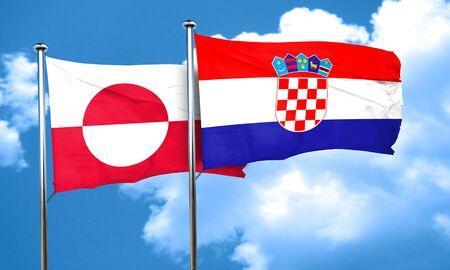 bandera de croacia: Bandera de Groenlandia con la bandera de Croacia, 3D Foto de archivo