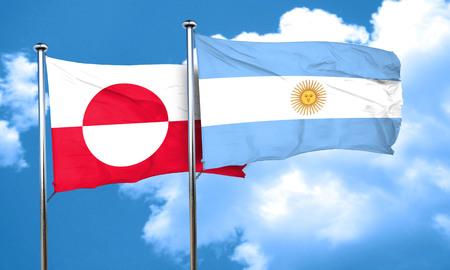 argentine: greenland flag with Argentine flag, 3D rendering
