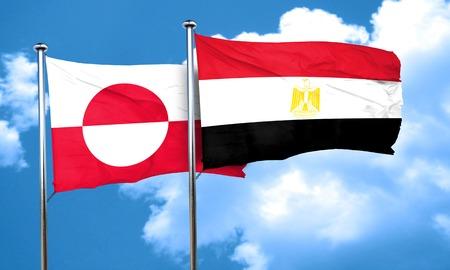 bandera egipto: greenland flag with egypt flag, 3D rendering Foto de archivo