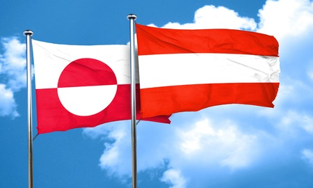 austria flag: greenland flag with Austria flag, 3D rendering
