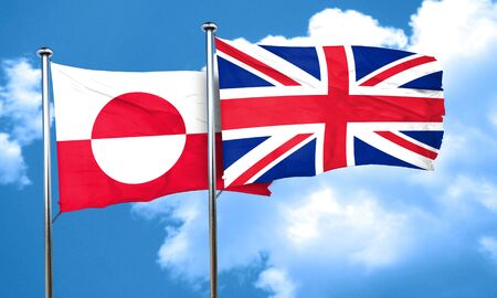 british culture: greenland flag with Great Britain flag, 3D rendering