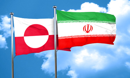 greenland: greenland flag with Iran flag, 3D rendering