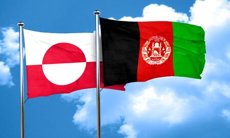 afghanistan flag: greenland flag with afghanistan flag, 3D rendering Stock Photo