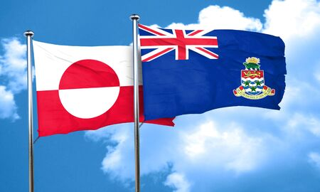 cayman: greenland flag with Cayman islands flag, 3D rendering
