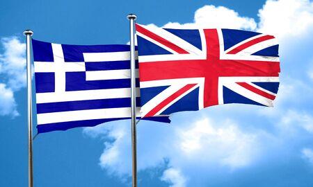 bandera de gran breta�a: Indicador de Grecia con la bandera de Gran Breta�a, 3D