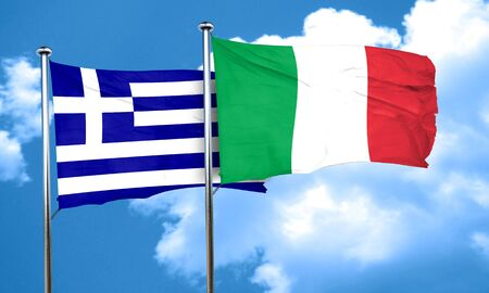 greece flag: Greece flag with Italy flag, 3D rendering