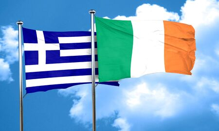 greece flag: Greece flag with Ireland flag, 3D rendering