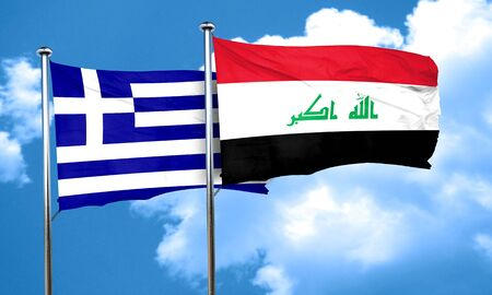 iraq flag: Greece flag with Iraq flag, 3D rendering