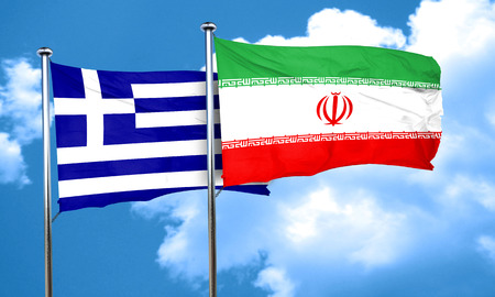 greece flag: Greece flag with Iran flag, 3D rendering