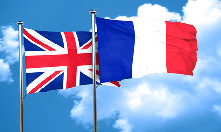 british culture: Great britain flag with France flag, 3D rendering