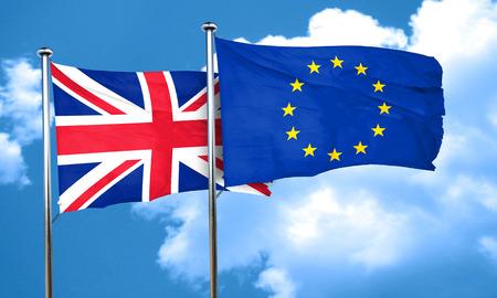 bandera de gran breta�a: Gran bandera de Gran Breta�a con la bandera de la Uni�n Europea, 3D