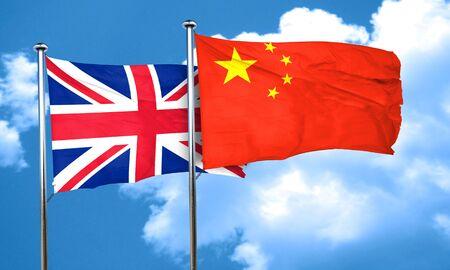 bandera de gran breta�a: Gran bandera de Gran Breta�a con la bandera de China, 3D