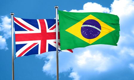 bandera de gran bretaña: Gran bandera de Gran Bretaña con la bandera de Brasil, 3D